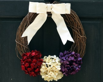 Late Summer Grapevine Wreath, Fall Hydrangea Wreath, Front Door Wreath, Burgundy Red Cream Purple Hydrangea Wreath, Fall Grapevine Wreath