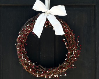 Rustic Christmas Wreath, Red White Green Wreath, Front Door Wreath, Christmas Pip Berry Wreath, Primitive Holiday Wreath, Holiday Decor