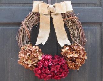 Rustic Fall Grapevine Wreath, Burgundy Red Brown Hydrangea Wreath, Fall Hydrangea Wreath, Front Door Wreath, Fall Wreath, Fall Porch Decor