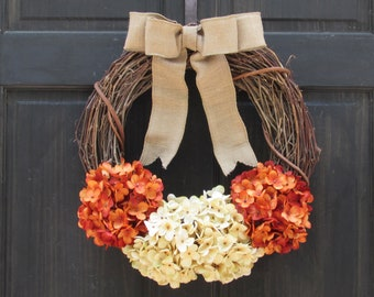 Fall Grapevine Wreath, Summer Hydrangea Wreath, Front Door Wreath, Rustic Fall Wreath, Orange Hydrangea Wreath, Summer Porch Decoration