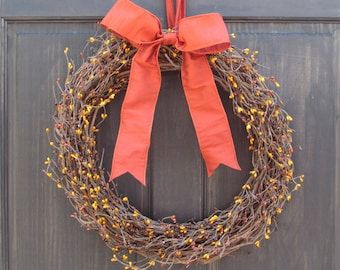 Country Primitive Wreath, Fall Berry Wreath, Fall Wreath, Pip Berry Wreath, Front Door Wreath, Fall Door Decor, Rustic Fall Wreath for Door