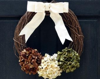 Fall Grapevine Wreath, Fall Hydrangea Wreath, Front Door Wreath, Fall Wreath, Fall Door Hanger, Fall Porch Decor, Brown Cream Green Wreath