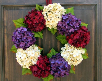 Late Summer Wreath, Summer Fall Wreath, Burgundy Red Cream Purple Hydrangea Wreath for Door, Front Door Wreath, Small Wreath, Large Wreath,