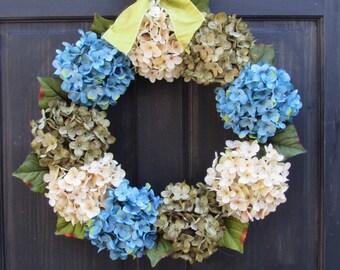 Summer Hydrangea Wreath, Front Door Wreath, Spring Wreath, Summer Wreath, Blue Green Hydrangea Wreath, Summer Porch Decor, Spring Door Decor