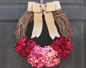 Valentines Day Wreath, Summer Grapevine Wreath, Front Door Wreath, Summer Wreath, Red Pink Wreath, Rustic Wreath, Red Pink Hydrangea Wreath