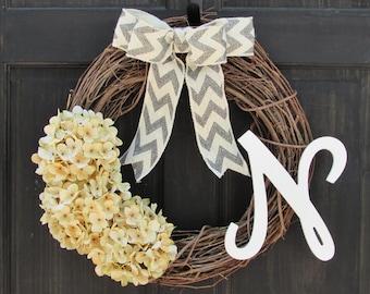 Cream Hydrangea Wreath with Monogram, Grapevine Wreath with Initial, Year Round Wreath, Front Door Wreath, Personalized Door Decoration