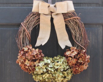Fall Wreath, Hydrangea Wreath, Grapevine Wreath, Rustic Wreath, Front Door Wreath, Fall Door Decor, Front Door Hanger, Porch Decor for Fall