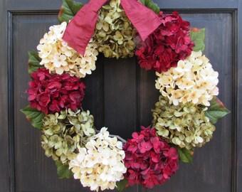 Christmas Wreath, Hydrangea Wreath, Front Door Wreath, Holiday Wreath, Christmas Hydrangea Wreath, Extra Large Wreath, Small Wreath for Door