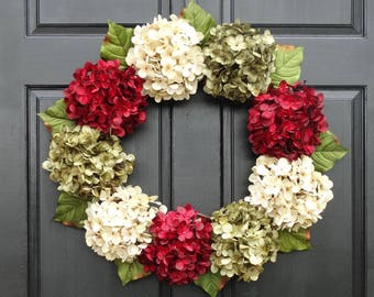 Christmas Wreath, Hydrangea Wreath, Holiday Wreath, Front Door Wreath, Small Wreath, Extra Large Wreath, Christmas Hydrangea Wreath for Door