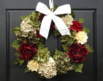 Christmas Wreath, Front Door Wreath, Holiday Wreath, Hydrangea Wreath, Peony Wreath, Christmas Door Decor, Christmas Porch Decor, 24 Inch