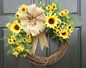 Yellow Sunflower Wreath, Mixed Greenery Wreath, Front Door Wreath, Year Round Wreath, Spring Wreath, Summer Wreath for Front Door Decor