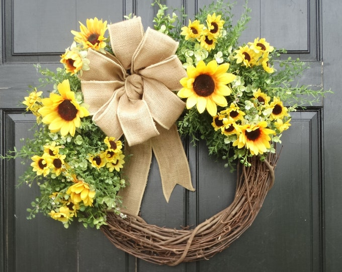 Featured listing image: Yellow Sunflower Wreath, Mixed Greenery Wreath, Front Door Wreath, Year Round Wreath, Spring Wreath, Summer Wreath for Front Door Decor