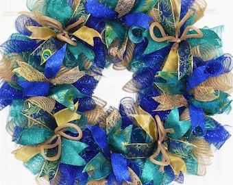 Peacock Wreath, Everyday Wreath, Year Round Wreath, Spring Wreath, Front Door Wreath, Deco Mesh Wreath, Peacock Decor, READY TO SHIP