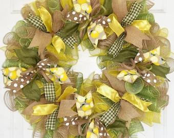 Country Wreath, Lemon Wreath, Front Door Wreath, Everyday Wreath, Year Round Wreath, Spring Summer Wreath, Deco Mesh Wreath, READY TO SHIP
