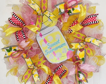 Sweet Summer Wreath, Pink Lemonade Wreath, Lemon Wreath, Deco Mesh Wreath, Summer Door Decor, Lemon Door Decor, READY TO SHIP Wreath