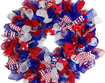 Patriotic Deco Mesh Wreath for 4th of July Summer Front Door Decor, Patriotic Wreath, 4th of July Wreath, Summer Wreath, READY TO SHIP