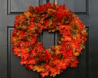 Large Faux Fall Leaves Wreath, Fall Wreath, Front Door Wreath for Fall Decor, Artificial Fall Leaf Wreath, Fall Porch Decor, 22-24 Inch