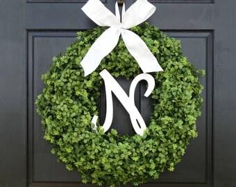 Faux Boxwood Wreath, Front Door Wreath with Monogram, Initial Wreath, Fall Wreath, Year Round Wreath, Summer Greenery Wreath, 22 Inch Wreath