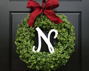 Large Faux Boxwood Wreath, Christmas Wreath with Bow, Front Door Wreath with Initial, Monogram Wreath, Greenery Wreath, 22 Inch Wreath