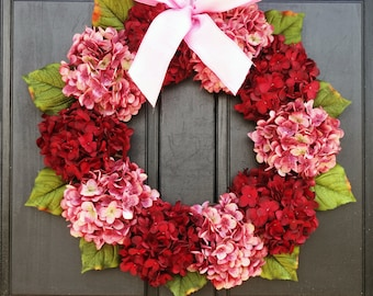 Valentines Day Wreath for Front Door, Wreath for Summer, Hydrangea Wreath, Red & Pink Wreath, Spring Wreath, Small Wreath, Large Wreath