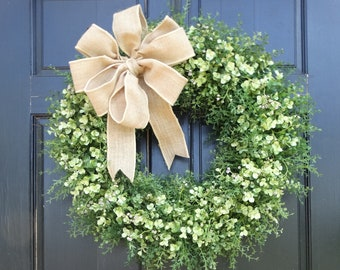 Large Artificial Greenery Wreath, Farmhouse Wreath, Front Door Wreath, Spring Wreath, Year Round Wreath for Front Door, 24 Inch Wreath