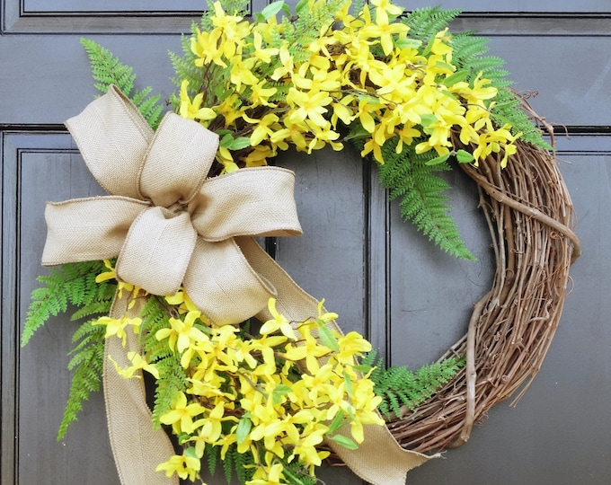 Featured listing image: Yellow Forsythia Wreath, Summer Wreath, Front Door Wreath, Spring Wreath, Fern Wreath, Grapevine Wreath, Farmhouse Porch Door Decor