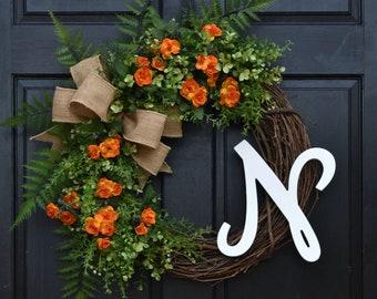 Orange Mini Rose Wreath, Front Door Wreath, Summer Wreath with Monogram, Spring Wreath with Initial, Greenery Wreath, Eucalyptus Wreath