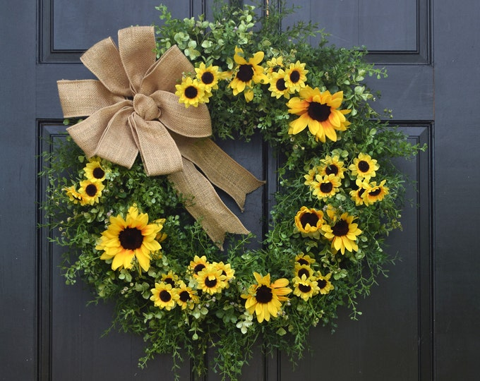 Featured listing image: Large Sunflower Wreath, Farmhouse Wreath, Front Door Wreath, Greenery Wreath, Spring Wreath, Year Round Wreath, Summer Wreath for Front Door