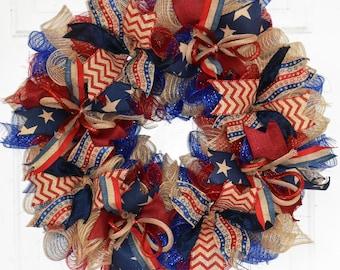 Americana Wreath, Patriotic Wreath, 4th of July Wreath, Deco Mesh Wreath, Summer Wreath, Patriotic Decor, Summer Door Decor, Door Wreath