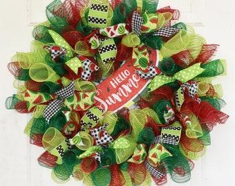 Hello Summer Wreath, Watermelon Wreath, Deco Mesh Wreath, Watermelon Door Decor, Front Door Wreath, Summer Door Decor, READY TO SHIP Wreath