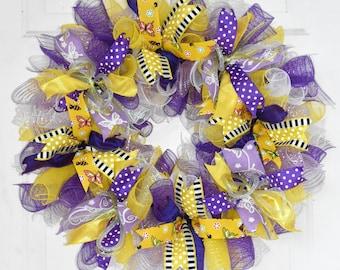 Butterfly Wreath, Spring Wreath, Summer Wreath, Deco Mesh Wreath, Purple Yellow Wreath, Front Door Wreath, Butterfly Decor, READY TO SHIP