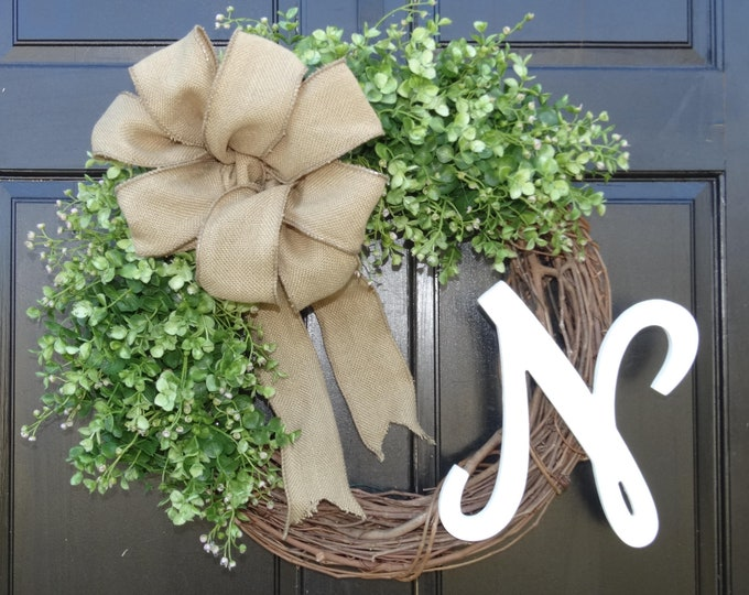 Featured listing image: Faux Greenery Wreath, Eucalyptus Wreath, Front Door Wreath with Monogram, Initial Wreath, Fall Wreath, Grapevine Wreath, Year Round Wreath