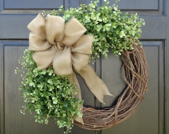 Faux Eucalyptus Wreath, Greenery Wreath, Front Door Wreath, Spring Wreath, Summer Wreath, Everyday Wreath, Year Round Wreath for Front Door
