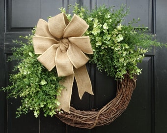 Mixed Greenery Wreath, Everyday Wreath, Front Door Wreath, Farmhouse Wreath, Spring Wreath, Summer Wreath, Year Round Wreath for Front Door