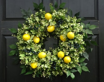 Lemon Wreath, Eucalyptus Wreath, Front Door Wreath, Spring Wreath, Summer Wreath, Greenery Wreath, Front Door Decor, Summer Door Decoration