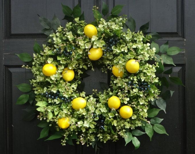 Featured listing image: Lemon Wreath, Eucalyptus Wreath, Front Door Wreath, Spring Wreath, Summer Wreath, Greenery Wreath, Front Door Decor, Summer Door Decoration