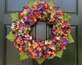 Halloween Wreath, Fall Wreath, Front Door Wreath for Halloween Decor, Fall Hydrangea Wreath for Halloween Porch Decor, Halloween Door Decor