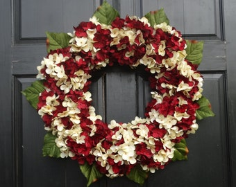 Front Door Wreath, Red Hydrangea Wreath, Front Door Decor, Valentines Day Wreath, Valentine Door Decor, Porch Decoration, Red Wreath