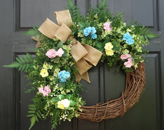Featured listing image: Spring Greenery Wreath, Easter Wreath for Front Door, Spring Grapevine Wreath, Easter Door Decor, Spring Mini Rose Wreath, Porch Decor