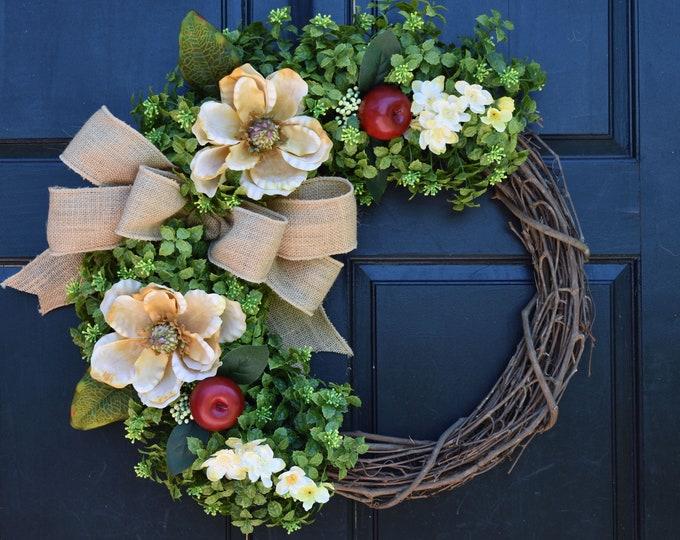 Featured listing image: Faux Boxwood Wreath, Apple Wreath, Magnolia Wreath, Spring Wreath, Summer Wreath, Year Round Wreath, Fall Wreath, Everyday Wreath for Door