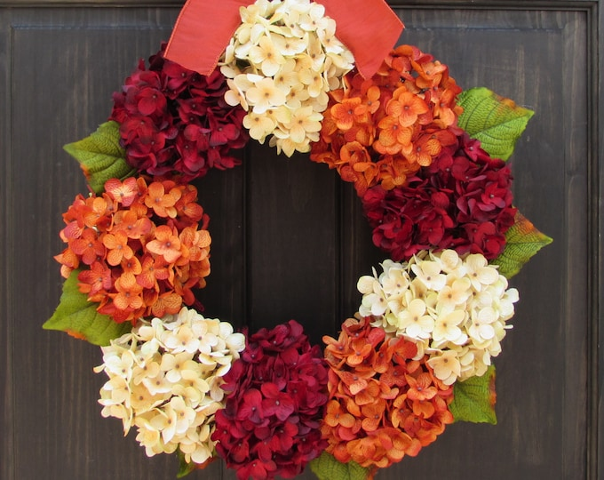 Featured listing image: Fall Wreath, Front Door Wreath, Summer Wreath, Fall Hydrangea Wreath, Thanksgiving Wreath for Front Door, Fall Porch Decor, Fall Door Decor