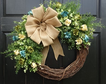 Summer Mixed Greenery and Dahlia Bud Grapevine Wreath for Front Door Decor, Spring Wreath, Summer Wreath, Eucalyptus Wreath, Greenery Wreath