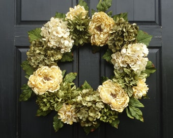 Large Year Round Wreath, Mixed Floral Wreath, Green Hydrangea Wreath, Front Door Wreath, Green Wreath, Peony Wreath, 24 Inch Wreath