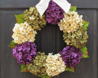 Spring Hydrangea Wreath, Summer Wreath, Fall Wreath, Front Door Wreath, Spring Wreath, Green Purple Hydrangea Wreath for Fall Door Decor