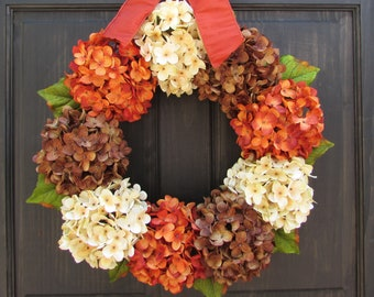 Fall Wreath, Fall Hydrangea Wreath, Front Door Wreath for Fall Door Decor, Thanksgiving Wreath, Porch Decor, Fall Front Door Decor, Wreath