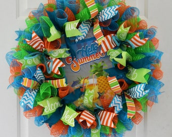 Hello Summer Wreath, Deco Mesh Wreath, Cocktail Wreath, Patio Wreath, Summer Deco Mesh Wreath, Pool Wreath, Pineapple Wreath, Welcome Wreath