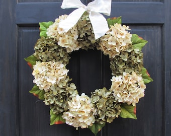 Faux Hydrangea Wreath, Front Door Wreath, Fall Wreath, Year Round Wreath for Front Door Decor, Green Hydrangea Wreath, Everyday Wreath