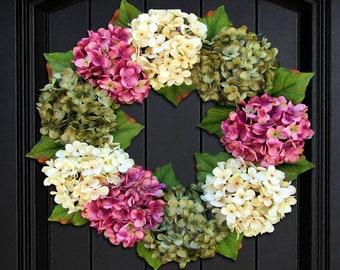 Spring Hydrangea Wreath, Summer Wreath, Front Door Wreath, Summer Hydrangea Wreath, Spring Wreath for Front Door Decor, Porch Decoration