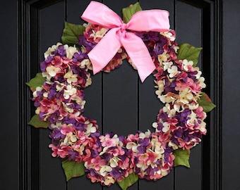 Easter Wreath, Spring Wreath, Hydrangea Wreath, Front Door Wreath, Spring Hydrangea Wreath, Easter Door Decor, Summer Wreath, Porch Decor