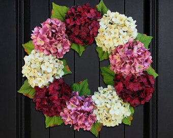 Valentines Day Wreath for Front Door, Wreath for Spring, Wreath for Summer, Hydrangea Wreath, Porch Decor, Small Wreath, Extra Large Wreath
